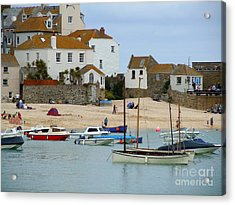 St.ives Harbour Acrylic Print by Anne Gordon