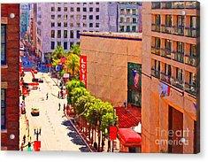 Stockton Street San Francisco Towards Union Square Acrylic Print by Wingsdomain Art and Photography