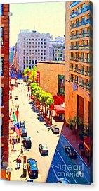 Stockton Street San Francisco . View Towards Union Square Acrylic Print by Wingsdomain Art and Photography