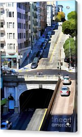 Stockton Street Tunnel In Hilly San Francisco . 7d7499 Acrylic Print by Wingsdomain Art and Photography