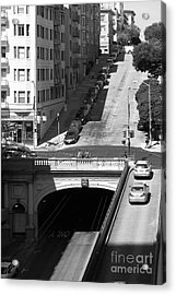 Stockton Street Tunnel Midday Late Summer In San Francisco . Black And White Photograph 7d7499 Acrylic Print by Wingsdomain Art and Photography