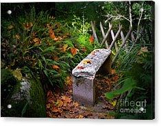 Stone Bench Acrylic Print by Carlos Caetano