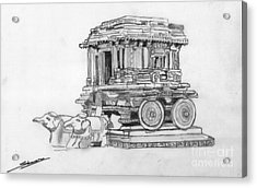 Stone Chariot Hampi Vijayanagar Empire Acrylic Print by Shashi Kumar