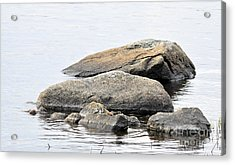 Stone In Calm Water Acrylic Print by Conny Sjostrom