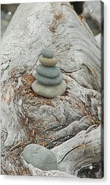 Stone Tower On Beach Log Acrylic Print