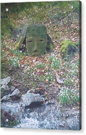 Acrylic Print featuring the painting Stoneface Looking At Me by Richard James Digance