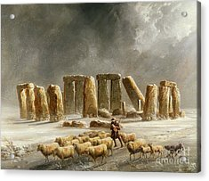 Stonehenge In Winter  Acrylic Print by Walter Williams
