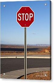 Stop Sign In The Desert Acrylic Print by Paul Edmondson
