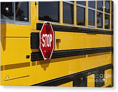 Stop Sign On A School Bus Acrylic Print by Skip Nall
