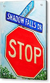 Stop Sign Sketchbook Project Down My Street Acrylic Print by Irina Sztukowski