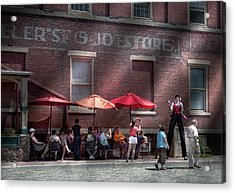 Storefront - Bastile Day In Frenchtown Acrylic Print by Mike Savad