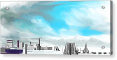 Storm Approachs Strange City Acrylic Print by David Lane