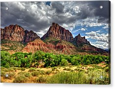 Storm Brewing In Desert Acrylic Print by Rod Wiens