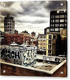 Storm Clouds And Graffiti Looking Out Acrylic Print
