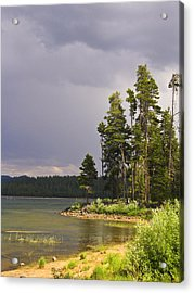 Storm Clouds Over A Lake Acrylic Print by Anne Mott