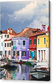 Storm Clouds Over Burano Acrylic Print by Paul Cowan