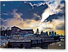 Storm Clouds Over Philadelphia Acrylic Print by Bill Cannon