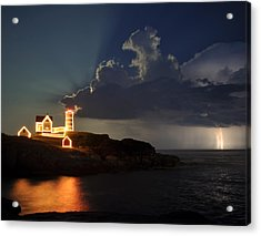 Storm Energizes The Lightning And The Lighthouse Acrylic Print