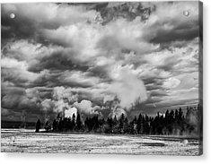 Storm Over Firehole Lake Drive Acrylic Print by Daniel Hagerman
