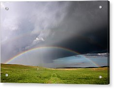 Storm Rainbow Prairie Acrylic Print by Ryan McGinnis