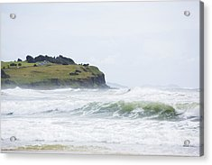 Storm Swell Waves On A Beach Acrylic Print by David Freund