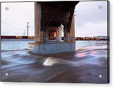Storm Water Under The Sixth Street Bridge In La Acrylic Print by Kevin  Break