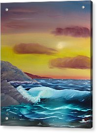 Acrylic Print featuring the painting Stormy Beach by Charles and Melisa Morrison