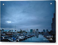 Stormy Skies Over Boat Harbor At Night, Honolulu, Hawaii Acrylic Print by Inti St. Clair