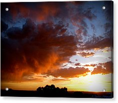Stormy Sunset Over A Tree Canopy Acrylic Print by Aaron Burrows