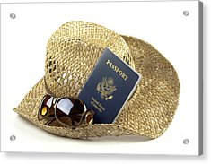 Straw Hat With Glasses And Passport Acrylic Print by Blink Images