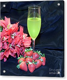 Strawberries And Wine Acrylic Print by Michael Waters