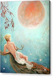 Strawberry Moon Nymph Acrylic Print by Michael Rock