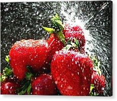 Strawberry Splatter Acrylic Print by Colin J Williams Photography