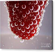 Strawbwrry In Soda Macro Acrylic Print by Soultana Koleska