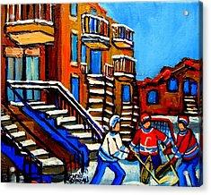 Street Hockey Near Staircases Montreal Winter Scene Acrylic Print by Carole Spandau