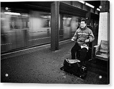 Street Musician In Subway Station In New York City Acrylic Print by Ilker Goksen