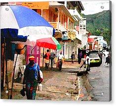 Street Scene In Rosea Dominica Filtered Acrylic Print