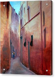 Street Scene  Malta Acrylic Print by Rosemarie Hakim