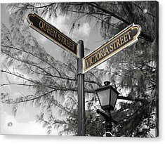 Street Signs On Grand Turk Acrylic Print