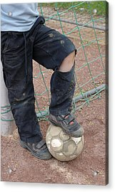 Street Soccer - Torn Trousers And Ball Acrylic Print by Matthias Hauser