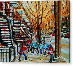 Streets Of Verdun Hockey Art Montreal City Scenes With Winding Staircases And Row Houses Acrylic Print by Carole Spandau
