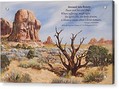 Stressed Into Beauty With Poem Acrylic Print by George Richardson