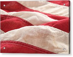 Stripes Of An Old American Flag Acrylic Print by Ruby Hummersmith
