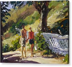 Stroll The Cove Acrylic Print by Mark Lunde