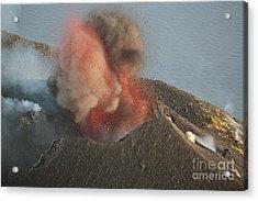 Strombolian Eruption Of Stromboli Acrylic Print by Richard Roscoe