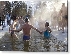 Strong People In Ice Water Acrylic Print by Aleksandr Volkov