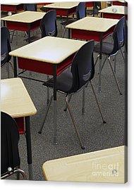 Student Desks In Classroom Acrylic Print by Skip Nall
