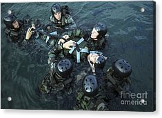 Students Secure A Simulated Casualty Acrylic Print by Stocktrek Images