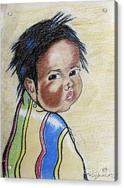 Study Of A Navajo Child  2 Acrylic Print by Julie Coughlin