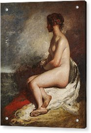 Study Of A Seated Nude Acrylic Print by William Etty